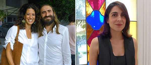 Left: Amira Solh of Solidere's department of urban design and masterplanning with artist Vartan Avakian. Right: Sursock Museum's head of temporary exhibitions and public programs Nora Razian.