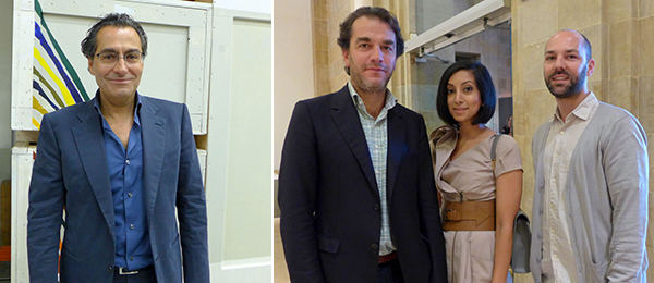 Left: Aïshti CEO Tony Salamé. Right: Dealer Jonathan Viner with publicist Noreen Ahmad and Independent Curators International director Renaud Proch.