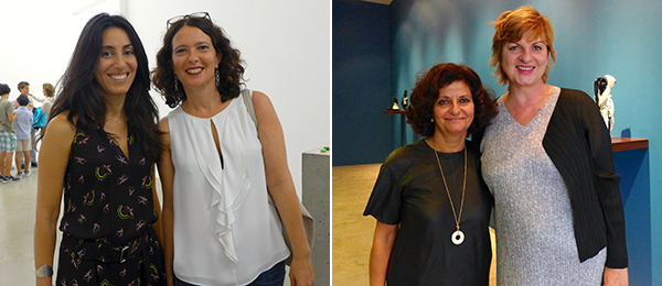 Left: Dealer Joumana Asseily of Marfa with Protocinema founder Mari Spirito. Right: Dealers Andrée Sfeir-Semler and Eva Presenhuber.