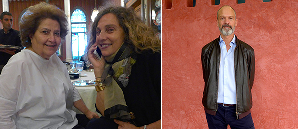 Left: Patrons Farida Sultan and Huda Baroudi. Right: Artist Willem de Rooij.