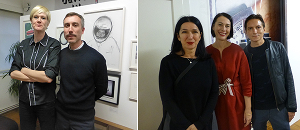 Left: Dealers Floor Wullems and Andreas Gegner. Right: Moderna Galerija's Zdenka Badovinaovic, WHW's Ivet Ćurlin, and artist David Maljkovic.