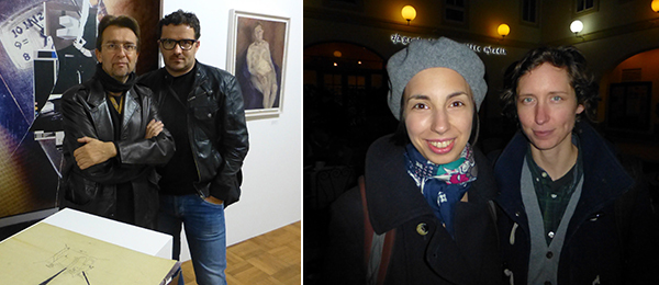 Left: Artists Roman Urajnek and Radenko Milak. Right: Art historian Maja Marković with artist Helena Janečić.