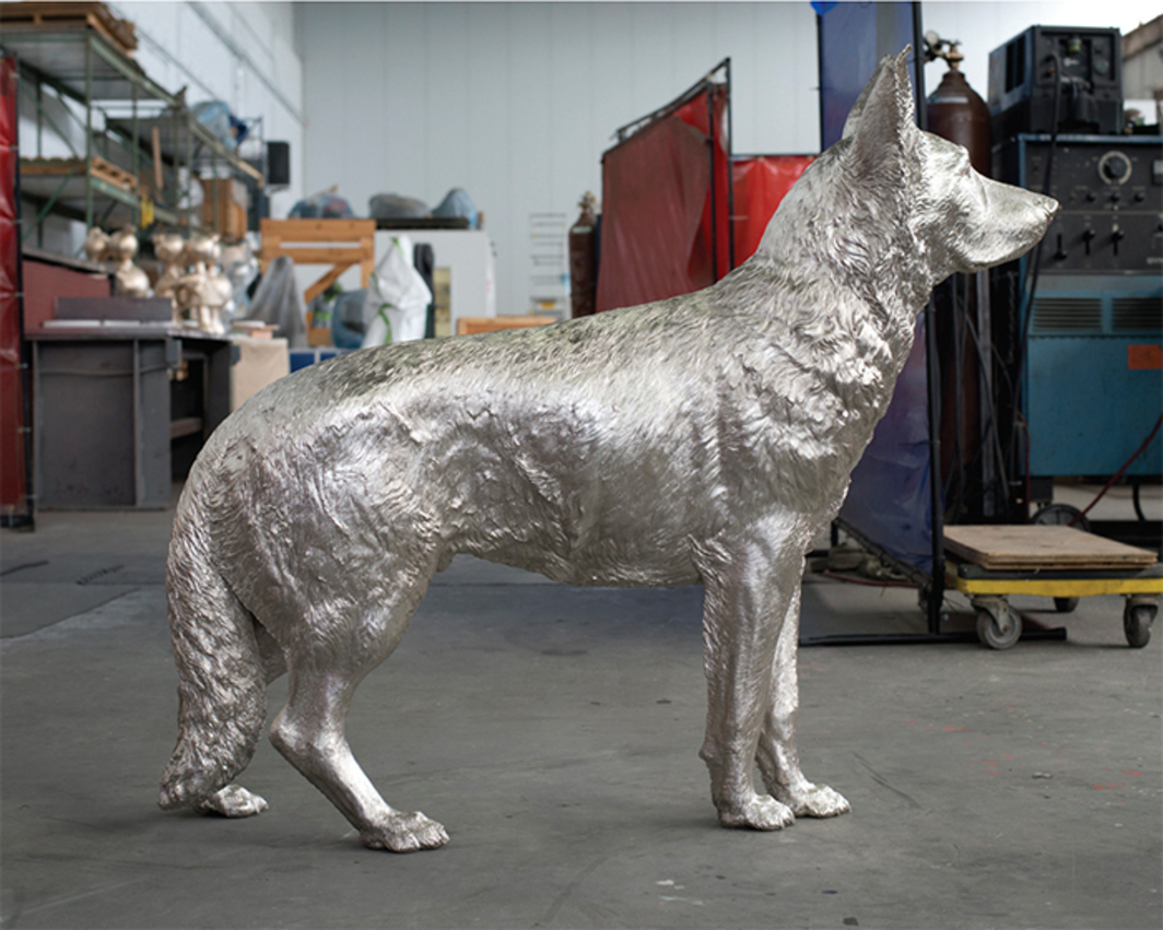 "Charles Ray, Silver, 2015, sterling silver, 42 3/8 × 11 1/4 × 48"". Photographed at Polich Tallix foundry in Rock Tavern, NY."