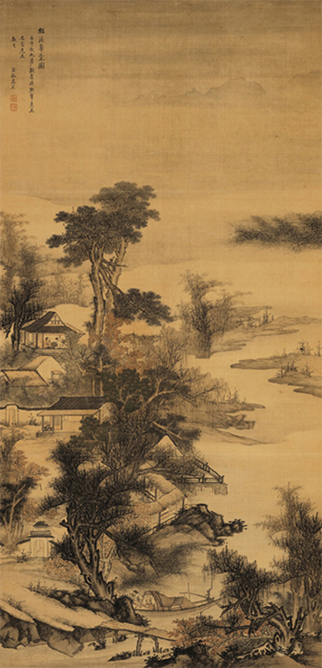 "Wu Hong, Thatched Cottage by the Zhe River (detail), 1672, pigment and ink on silk, 63 × 31 1/2"". From ""One Never Tires of Looking at Mountains of the Homeland: The Ming and Qing Dynasties Landscapes Exhibition."""