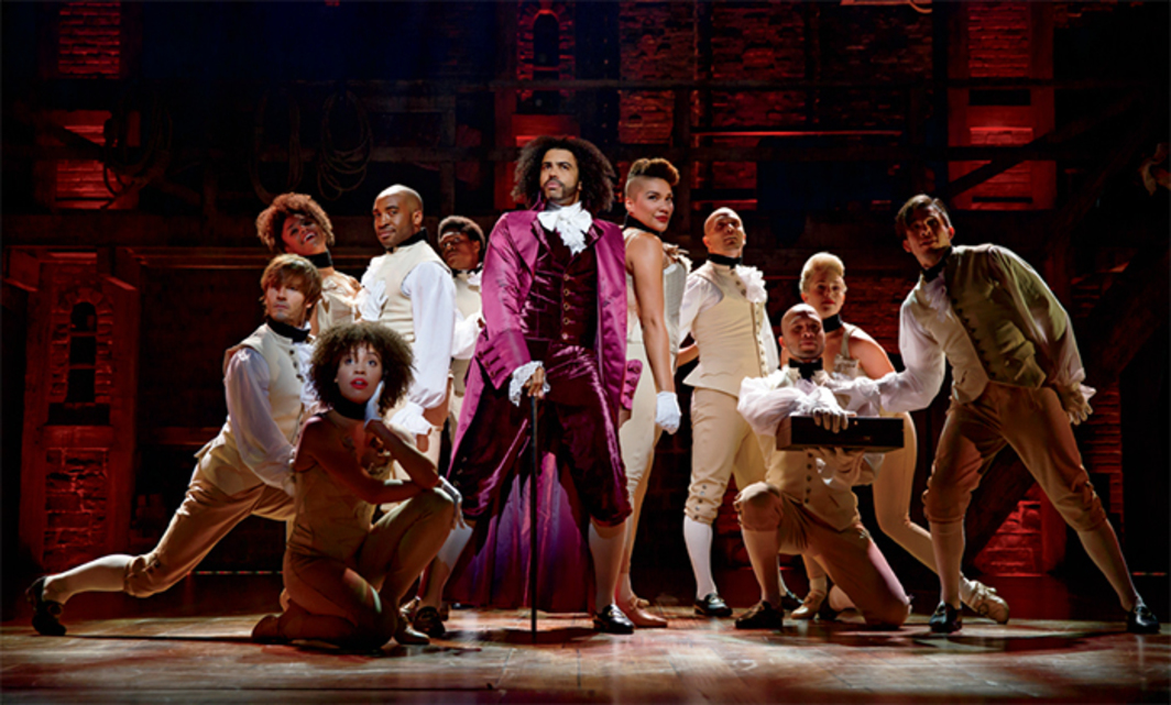 Lin-Manuel Miranda, Hamilton, 2015. Performance view, Richard Rodgers Theatre, New York, July 11, 2015. Center: Thomas Jefferson (Daveed Diggs). Photo: Joan Marcus.