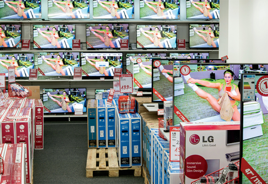 Ryan Trecartin, CENTER JENNY, 2013, HD video, color, sound, 53 minutes 13 seconds. Installation view, Media Markt, Stockholm. Photo: Erik Undéhn.