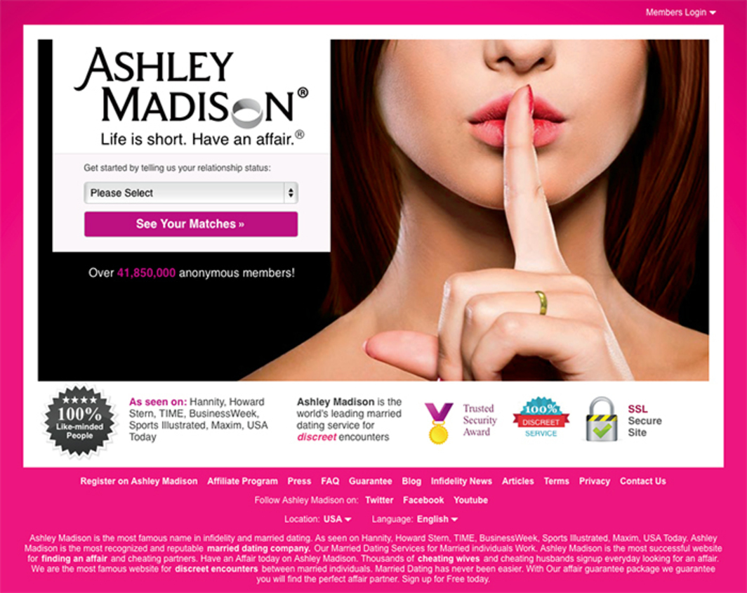 Screenshot of log-in page for Ashley Madison, October 15, 2015.