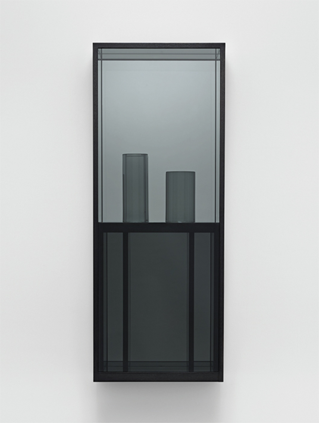 "Josiah McElheny, Window Painting I, 2015, hand-formed cut and polished gray glass, low-iron mirror, gray architectural sheet glass, oak, sumi ink, 50 1/2 × 19 1/2 × 7 1/2""."