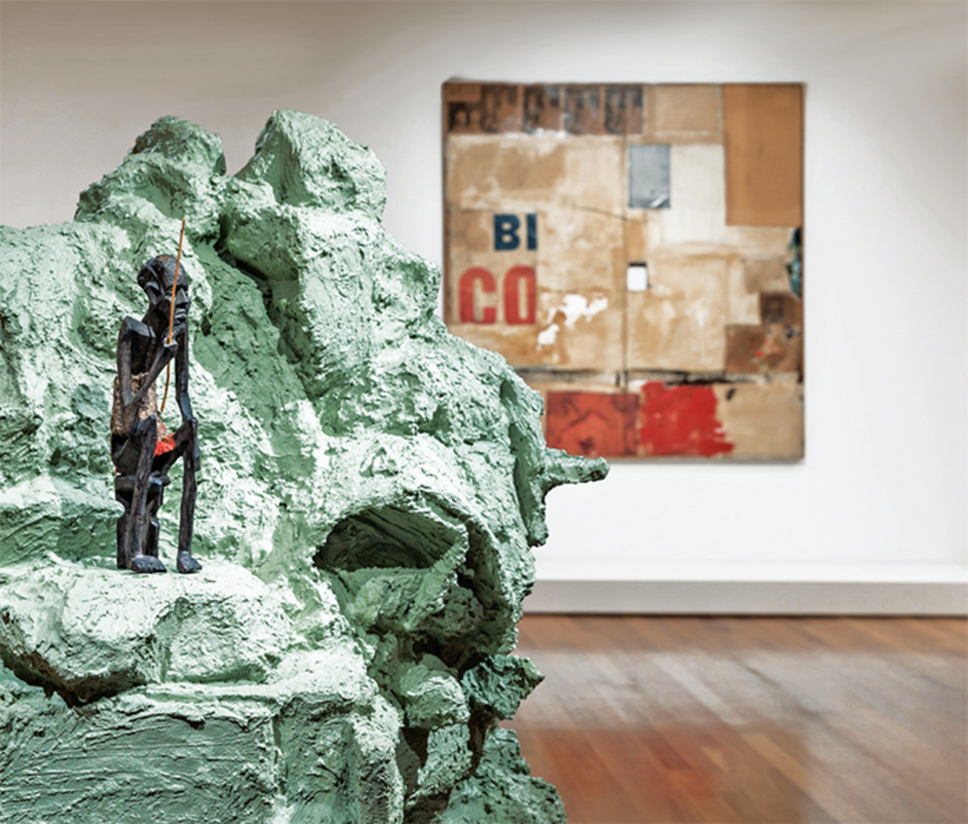 "View of ""Gloria: Robert Rauschenberg & Rachel Harrison,"" 2015. Foreground: Rachel Harrison, Slipknot (detail), 2002. Background: Robert Rauschenberg, Gloria, 1956."