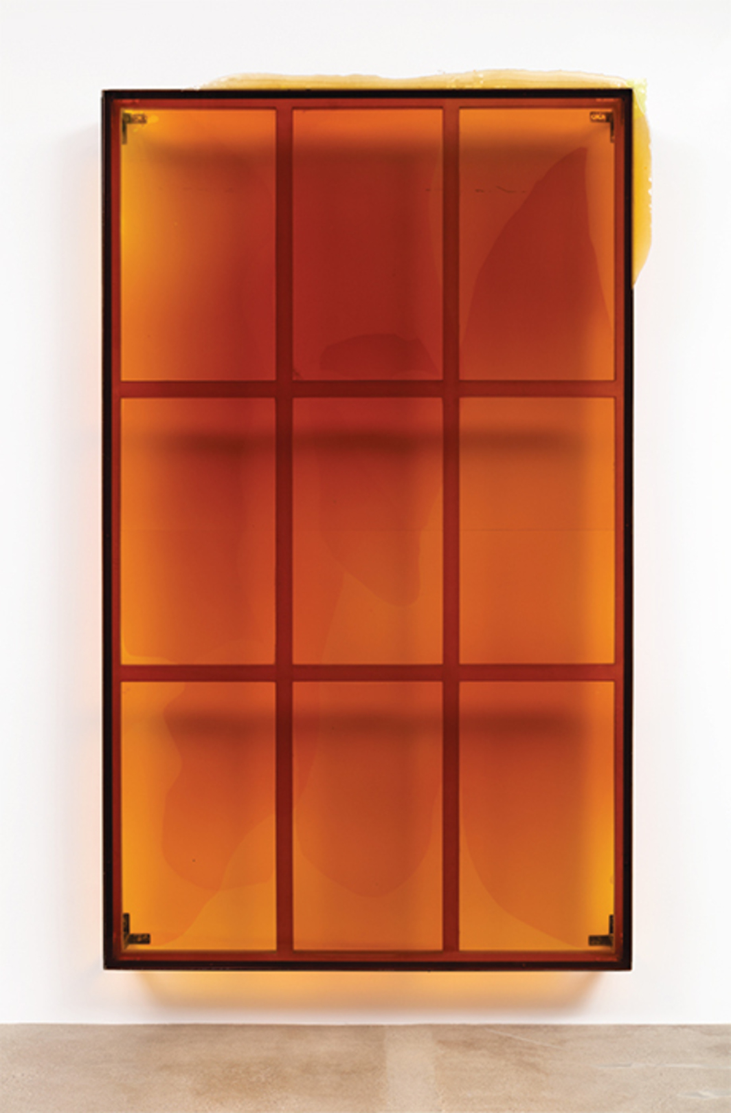 "Alex Hubbard, [To be titled], 2015, pigmented urethane, steel, 10' 3"" × 6' 3"" × 1' 1/2""."