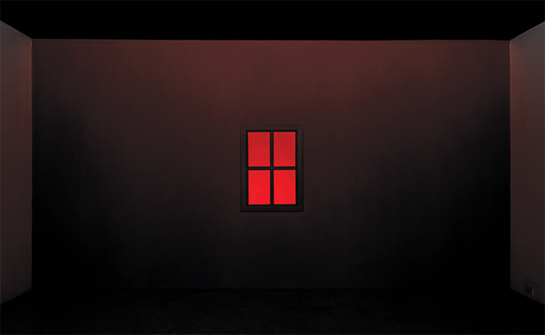 Jack Goldstein, Burning Window, 1977/2015, wood, Plexiglas, acrylic paint, lights, dimensions variable.