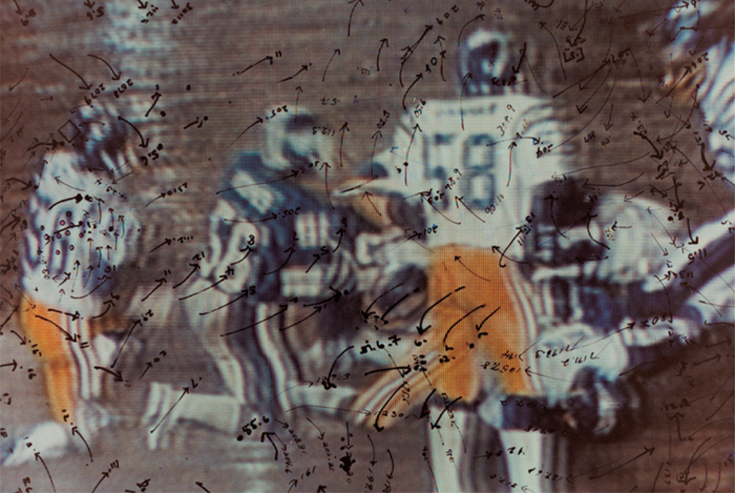 "Howardena Pindell, Video Drawings: Football, 1976, C-print, 8 × 10"". From the series ""Video Drawings,"" 1976–2007."