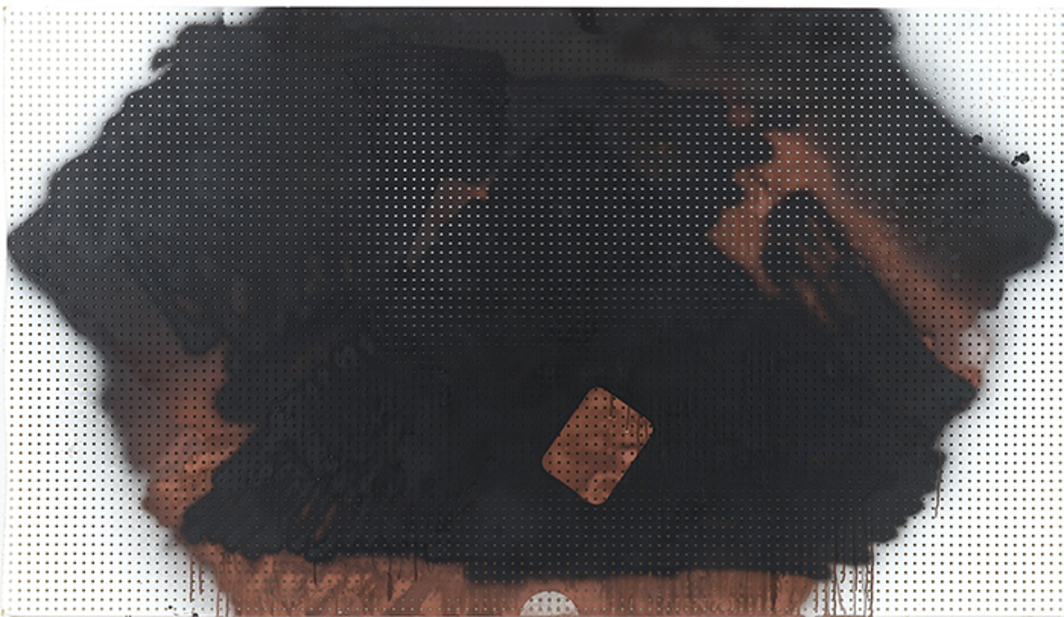 "Michael Krebber, MP-KREBM-00095, 2013, spray paint on pegboard, 39 1/2 × 69 3/4""."