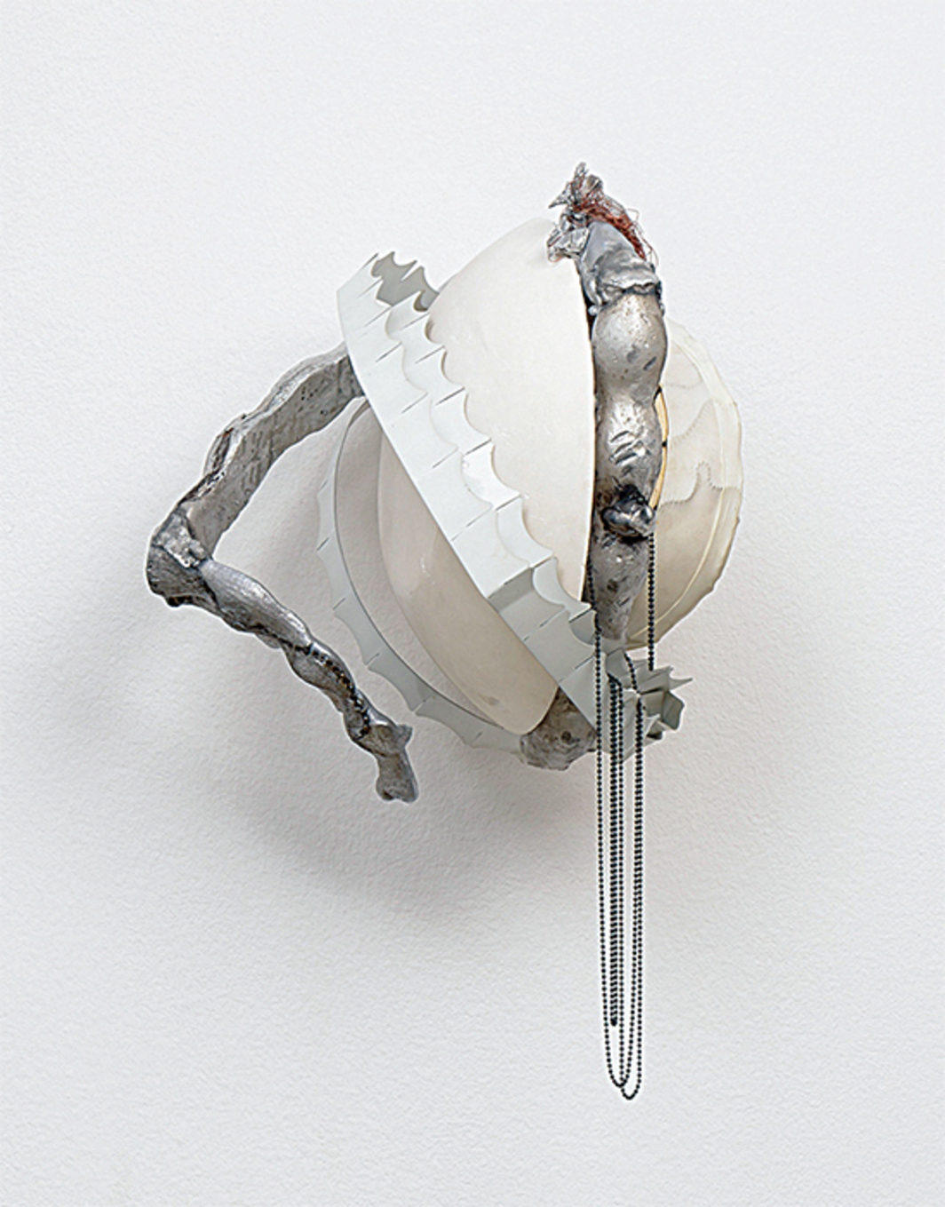 "David Douard, WE, 2015, plaster, aluminum, copper, balloon, eggs, chain, 16 1/2 × 9 7/8 × 9 7/8""."