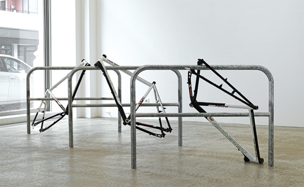 Sofia Hultén, This, That, Other, 2015, bicycle frames, metal barriers, dimensions variable.