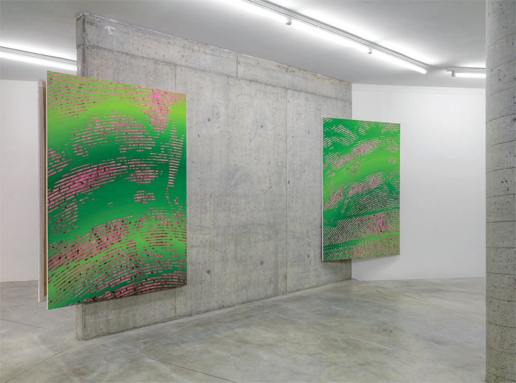 "View of ""Matteo Callegari,"" 2015. From left: SDGI, 2015; SDGII, 2015. Both from the series ""Gradient Paintings,"" 2014–15. Photo: Alessandro Zambianchi."