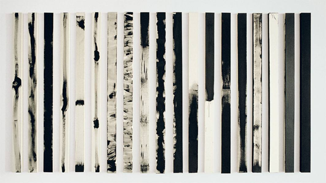 "Robert MacPherson, Scale from the Tool, 1976, acrylic on nineteen canvases, each 69 × 8 1/4 × 1 1/2"". From the series ""Scale from the Tool,"" 1976–77."