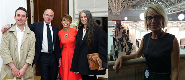 Left: Artist Ed Atkins, dealer Martin McGeown from Cabinet, collector Patrizia Sandretto Re Rebaudengo, and dealer Isabella Bortolozzi. Right: Artissima director Sarah Cosulich Canarutto. (Photo: Agnieszka Gratza)