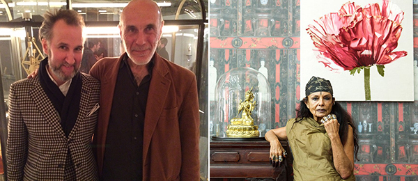Left: Artist Paul Etienne Lincoln and dealer Guido Costa. (Photo: Agnieszka Gratza) Right: OwenCorp's Michèle Lamy.