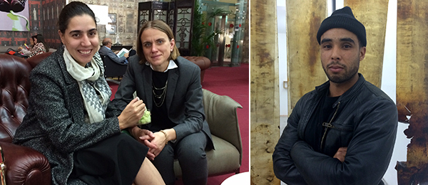 Left: Curators Diana Campbell Betancourt and Sophie Goltz. Right: Artist Hugo McCloud. (Photos: Agnieszka Gratza)