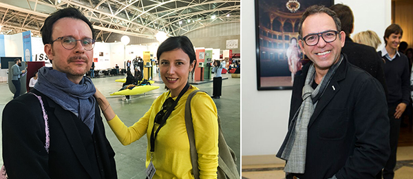 Left: Simone Menegoi and curator at ArtLineMilano Sara Dolfi Agostini. (Photo: Agnieszka Gratza) Right: Documenta 14 curator Pierre Bal-Blanc.