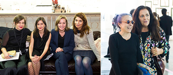 Left: Curator Eva Fabbris; María Inés Rodríguez, director of CAPC Musée d'Art Contemporain de Bordeaux; Museum der Moderne Salzburg director Sabine Breitwieser; and Centre Pompidou chief curator Christine Macel. Right: Mariuccia Casadio of Vogue Italia and collector Angela Missoni.