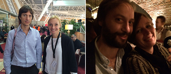 Left: Curator Jacopo Crivelli Visconti and dealer Asia Zak. Right: artist Alex Cecchetti and curator Eva Fabbris.