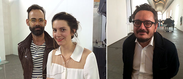 Left: Curator Chris Sharp and artist Julie Bena. Right: MADRE Naples director Andrea Viliani.