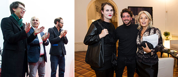 Left: Kunsthalle Zurich director Daniel Baumann, collector Maurizio Morra Greco, and Documenta 14 curator Dieter Roelstraete. Right: Curator Milovan Farronato (left) and collector Nicoletta Fiorucci (right).