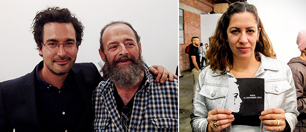 Left: Dealer François Ghebaly and artist Mitchell Sirop. Right: Fahrenheit director Martha Kirszenbaum. (Photos: Andrew Berardini)