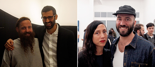 Left: Artist Aaron Curry and gallerist David Kordansky. Right: Dealer Lisa Overduin and artist Nikolas Gambaroff. (Photos: Andrew Berardini)