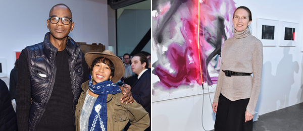 Left: Mark Bradford and Karon Davis. Right: Artist Mary Weatherford.