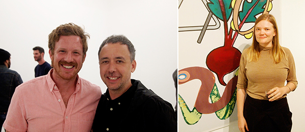 Left: Artists Leon Benn and Owen Kydd. Right: Artist Kate Hall. (Photos: Andrew Berardini)