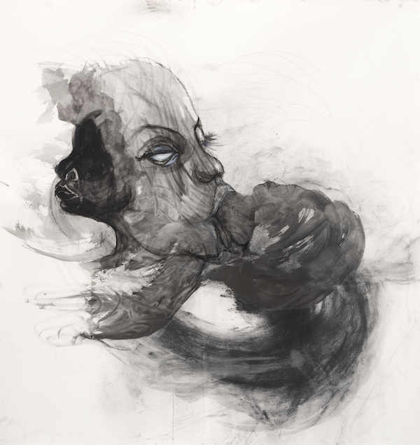 "Kenyatta A. C. Hinkle, Tituba Siphons Up Her Spectators in Order to Feed Her Young, 2013, india ink and compressed charcoal, 48 x 48"". Courtesy of Jenkins Johnson Gallery and the artist."