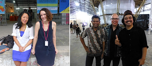 Left: Curator Eungie Joo and artist Zeyno Pekünlü. Right: Jakarta Biennale director Ade Darmawan with curator Charles Esche and artist Tisna Sanjaya. (All photos: Kate Sutton)