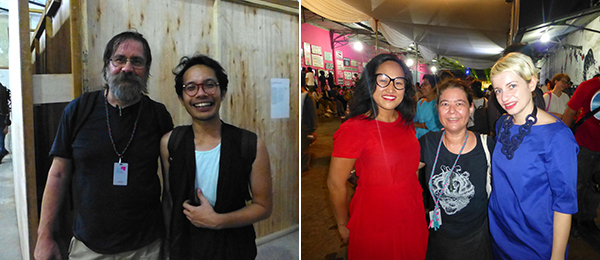 Left: Artists Dan Perjovschi and Farid Rakun. Right: CCA Singapore's Vera May, artist Yee I-Lann, and Anca Rujoiu