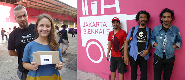 Left: Artist Robert Kusmirowski and Ujazdowski Castle curator Marianna Dobkowska at the Jakarta Biennale. Right: *Artists Budi Santoso, Setu Legi, and Ari Aminuddin at the Jakarta Biennale