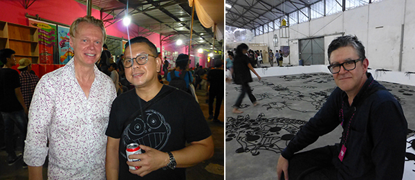 Left: Dealer Michael Janssen and Bazaar Art Jakarta director Leo Silitonga at the Jakarta Biennale. Right: Artist Peter Robinson