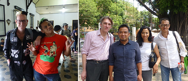 Left: Punkasila's Danius Kesminas with Biennale Jogja curator, artist Wok the Rock. Right: Curators Nicolas Bourriaud, Agung Hujatnika, and Enin Supriyanto with collector Natasha Sidharta.