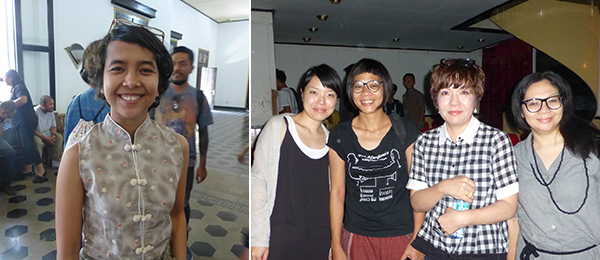 Left: Ark Galerie's Arsita Iswardthani at the Biennale Forum in Jogja. Right: Curators Haruko Kumakura, Grace Samboh, Mami Kataoka, and Alia Swastika, director of the Biennale Jogja.