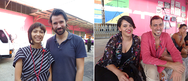 Left: Artist Tita Salina and Maciej Siuda. Right: Artists Asena Hayal and Köken Ergun.
