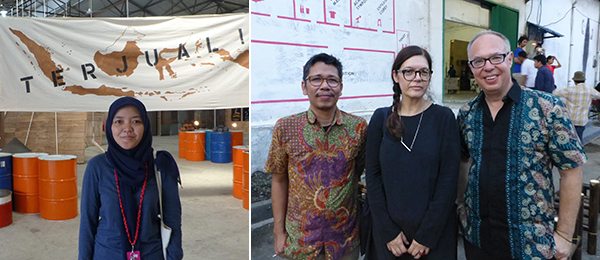 Left: Jakarta Biennale curator Riksa Effendy. Right: Ruangrupa's Hafiz Rancajale with curators Ute Meta Bauer and Charles Esche at the Jakarta Biennale.