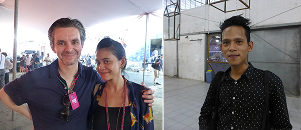 Left: Artist Jeremy Millar with curator Irma Chantily. Right: Artist Kolatt.