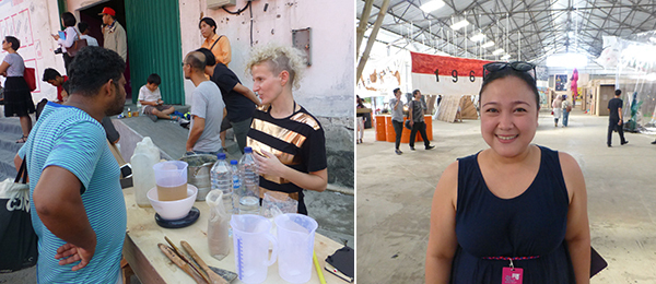 Left: Artist Marta Frank makes soap from clay at the Jakarta Biennale. Right: Jakarta Biennale's Shera Rindra.