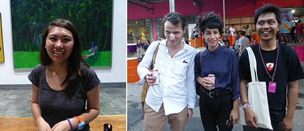 Left: Artist Lee Yi-Pei. Right: Artists David Bergé, Melisaa Tuntun, and Arie Syarifuddin at the Jakarta Biennale.