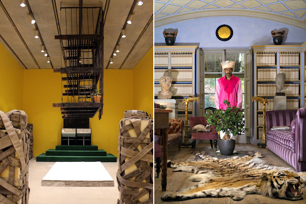 Left: Nari Ward, Happy Smilers: Duty Free Shopping, 1996. Photo: Pérez Art Museum Miami. Right: Nari Ward, Sun Splashed, Listri Sulla soglia, 2013. Courtesy the artist and Galleria Continua, San Gimignano, Beijing, Les Moulins, and Havana.