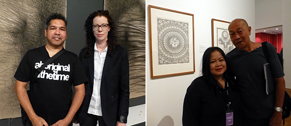 Left: Artist Vernon Ah Kee and Griffith Artworks director Angela Goddard. Right: Artist Melati Suryodarmo and Halim HD. (All photos: Kate Sutton)