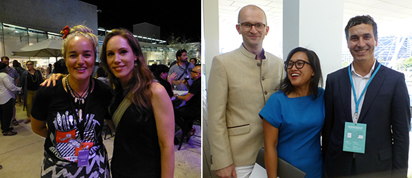 Left: SaVAge K'lub's Ani O'Neill and QAGOMA curator Abigail Bernal. Right: Curators Hendrik Folkerts, Vera Mey, and Abdellah Karroum.