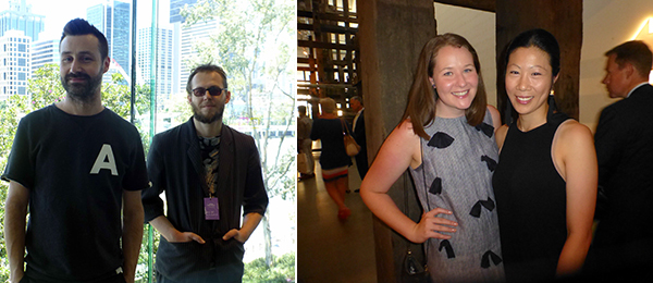 Left: Artists Super Critical Mass (Julian Day and Luke Jaaniste). Right: QAGOMA's Lauren Kelly and Ellen Yang.