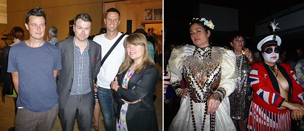 Left: Artist Tom Nicholson, QAGoMA curator Reuben Keehan, Marcus Barber, and MONASH's curatorial practice director Tara McDowell. Right: SaVAge K'lub's Rosanna Raymond and Aroha Rawson on parade.